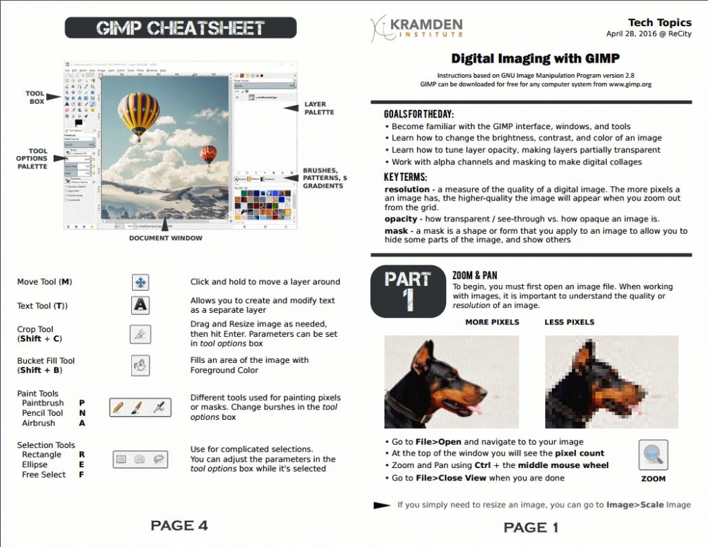 Digital imaging worksheet front page